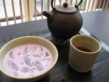 京番茶と紫芋の冷汁粉