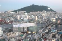 釜山タワーから見たロッテデパート