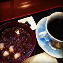 白玉ぜんざいとコーヒー