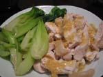 ゆで鶏と青菜の炒め